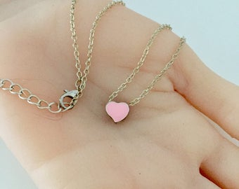 Pink Heart Necklace, Tiny Heart Necklace, Pink Heart Charm, Heart Necklace, Tiny Pink Heart, Mini Heart Necklace, Mini Heart Jewelry