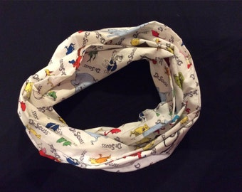 Dr. Suess infinity Scarf - 72 inch length, white infinity scarf, Cat in the Hat scarf, thing 1 & thing 2 infinity scarf, teacher scarf