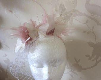 Butterfly fascinator in Pink and white
