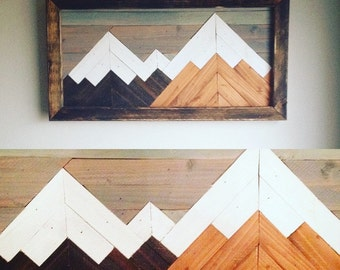 Mountain wood art, wall decor, mountain art, geometric art, woodscape, mountain range, rustic art, mountain range, lodge art, mosaic