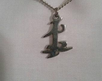 Necklace Japanese Kanji symbol silver tone necklace