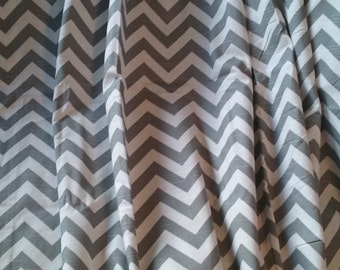 Gray chevron window curtain, bedroom curtain, window curtain, curtain panel, gray and white chevron, chevron, chevron curtains