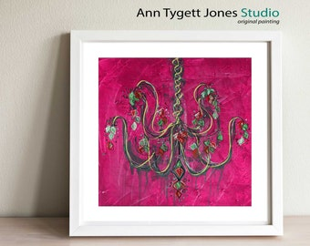 Pink Abstract Chandelier, art print of original acrylic painting, modern interior print for contemporary interior, funky chandelier art