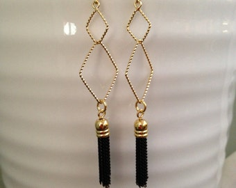 Romantic with some black tassel edginess earrings