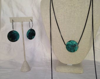Verdigris circles earrings and necklace set