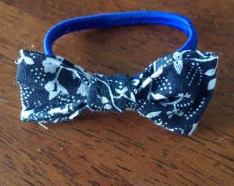 Dark blue flowers hair bow