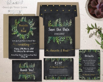 printable green wedding invitation suite chalkboard wedding invitation set garden wedding leafy watercolor greenery wreath invitation suite