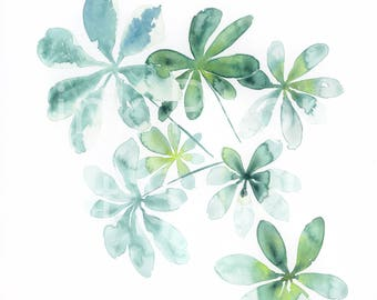 WATERCOLOR Schefflera plant Palm art print of my watercolor painting / House plant Print / Green Leaf Poster / Palm Leaf Wall Art / A4 size