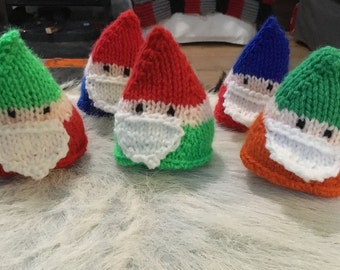 Set of 5 knitted gnomes