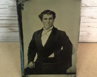 "Vintage Tin Type Man With Rosy Cheeks Sitting 3.5"" X 2.5"""