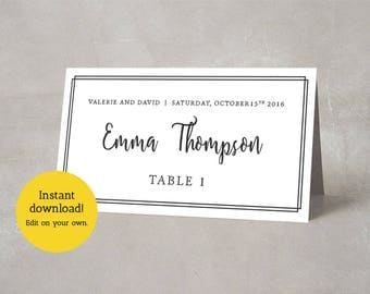 Editable Place Card Template, Elegant Wedding Name Cards, Printable Seating Card, Dinner Name Tags, Custom Place Cards INSTANT DOWNLOAD PDF