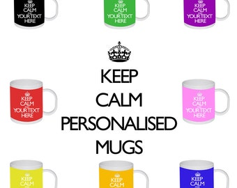 Keep Calm And Carry On Personalised Text Name Colours Birthday Gift Mug Cup