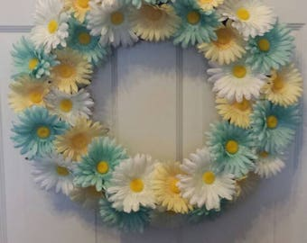 Daisy wreath / spring wreath / summer wreath / holiday wreath / Easter wreath / door wreath / front door wreath