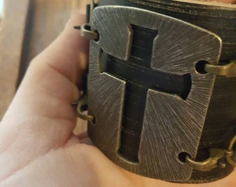 Beautiful Cross with Real leather double cuff bracelet