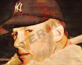 Mickey Mantle Art Print - The Mick Baseball Oil Painting Poster  LFF0127