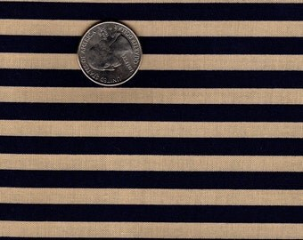 "Patriotic 1/4"" Stripe Blue and Tan OOP Marcus Brothers Textiles Fat Quarter"