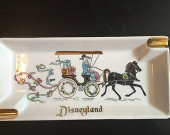 Vintage Disneyland Ashtray Souvenir Horse and Carriage
