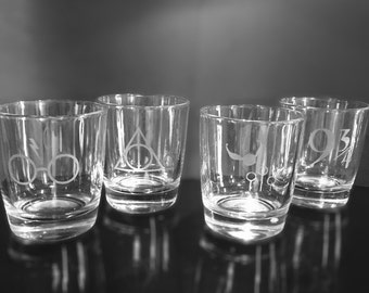 Set of 2 Personalized etched HARRY POTTER inspired glasses