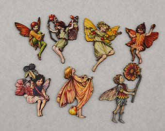 Flower Fairies Autumn Set of 7 - Laser Cut Chipboard - Altered Art Embellishments