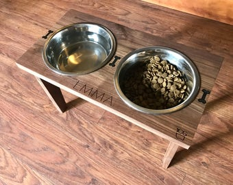 Dog Dish Feeding Stand w/ Stainless Steel Bowls