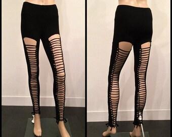 Shredded And Braided Black Handmade Leggings Custom Slashed Metal Punk Cut Ripped