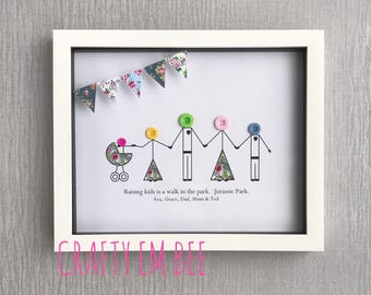 Personalised Family Button Frame/Print