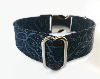 Buckle/Snap Dog Collar Charcoal/blue Paisley // Dog Lover Gift // Dog Accessories