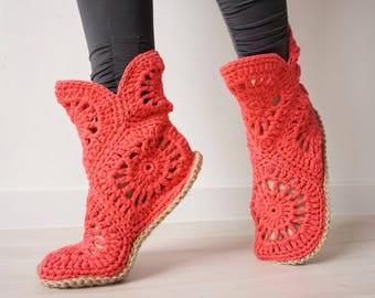 Crochet Booties, Crochet Slipper Socks, Gift for Her, Indoor Shoes, Home Shoes, Birthday Gift, House Slippers, Adult Slippers, Boho Gift