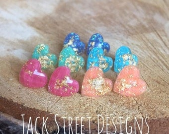 Gold Speckle Candy Heart Studs