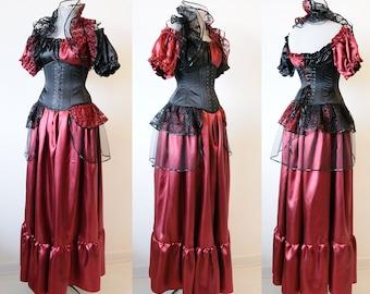 Burgundy satin skirt Steampunk skirt ren faire peasant renaissance skirt victorian skirt woman clothing alternative wedding gothic wedding