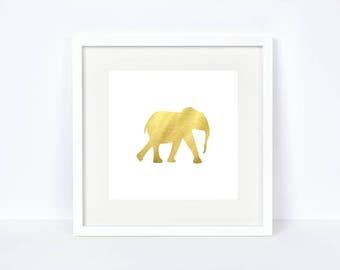Gold Foil Safari Animal Elephant Printable - Gold Foil Print - Gold Elephant Print - Safari Animals Nursery - Nursery Decor - Animal Print