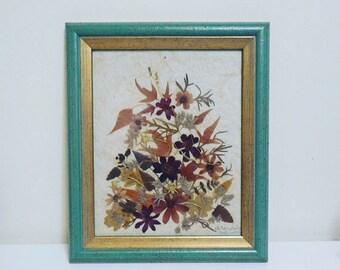 SALES !! Dried Flowers, Pressed Flower Arrangement, Vintage Decor, Handmade, Frame, Art Deco, Indie, Wall Decoration,Boho Decor, Art