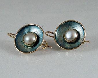 S- orecchini in argento,oro rosa,perle,lacca