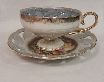 L M Royal Halsey Cup & Saucer Pearlescent/ Iridescent Gold Gilt Fruit Design