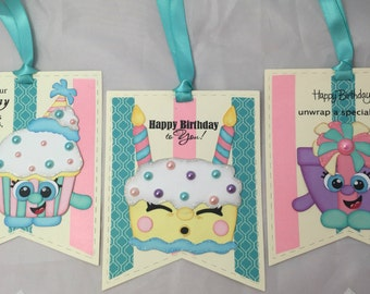 Premade Paper Pieced Die Cut Birthday Gift Tags - Set of 3