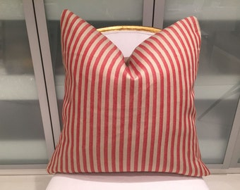 Rogers and Goffigon red and tan stripe pillows with solid linen back