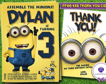 Minion Birthday Invitations | Minion  Invites |  Minion  Printable | Minion  Invitation | Minion Ideas | Minion Birthday Card | Minion