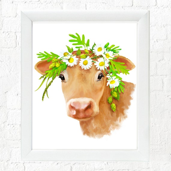 Calf with flowers, kid's farm animal wall art, cow art, nursery wall art, baby farm animal art, cow painting, art for kids walls, baby cow