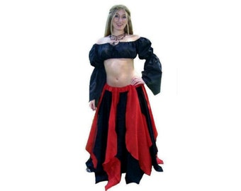 Ps-14 Red/Black Medieval Renaissance Clothing Faire Costume Pirate Peasant Wench Cotton Fairy Petal Skirt