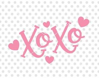 Xoxo SVG DXF Cutting File, Valentine's Svg Dxf Cut File, Hugs and Kisses Svg Dxf Cutting File, Love Svg Dxf Cutfile, Valentine's Day Clipart
