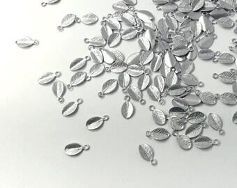 10 Pcs Silver Leaf Charm Leaves Necklace Charm Bracelet Charm Pendant Dainty Charm Handstamp MignonandMignon Best Seller 10LC-S