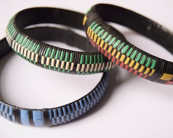 Colorful Recycled Plastic Bangles | African Ethnic Jewelry | Pastel colors | Recycled plastic & vinyl strips | handmade in Dakar, Senegal