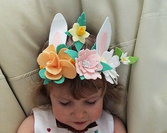 Felt flower head band, Spring head band, Flowers head piece, Easter head band, Bunny headband