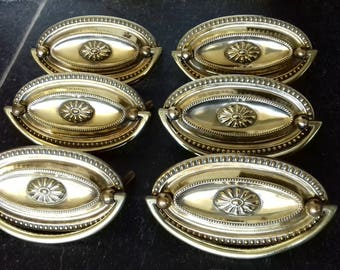 Antique Brass Reclaimed Oval Dresser Drawer Pull Handles