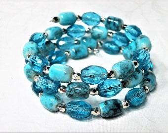 Turquoise Beaded Memory Wire Bracelet, Blue Beads, Silver Beads, Wrap Bracelet, Cuff Bracelet, Glass Beaded Bracelet