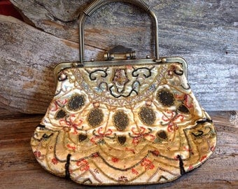 Vintage Beaded Bag Steampunk Style vintage/steampunk/beaded/bridal/bride/wedding/prom/party