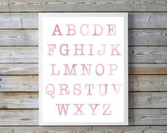BLUSH, pink Nursery,ABC, Nursery Decor, Kids Wall Art, Nursery Print, Alphabet Poster, Watercolor, nursery, playroom, digital, bright, happy