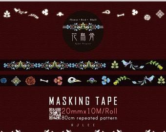 Masking Tape, Japanese Washi Tape, Flower‧Bird‧Skull, Embroidery, Stationery, 10M