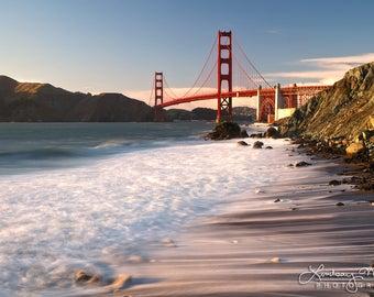 "San Francisco Wall Art   ""Golden Gate Bridge Sunset""   Bay Area Home Decor   Marshall Beach Photo - Bridge Photo - Bridge Print - Beach Art"