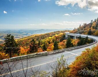 "Blue Ridge Parkway Print | ""Linn Cove Viaduct Foliage"" | North Carolina Photo - Blue Ridge Wall Art - Autumn Linn Cove Viaduct Photography"